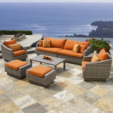 Cannes 8 Piece Sofa and Club Chair Seating Group with Cushions