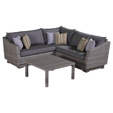 Cannes 4 Piece Corner Sectional Seating Group with Cushions