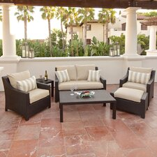 Slate Deco 6 Piece Deep Seating Group in Espresso with Cushions