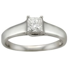 14k White Gold 1/4ct TDW Certified Diamond Engagement Ring