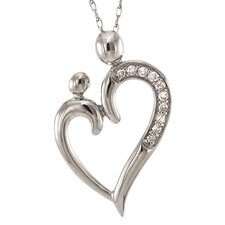 <strong>A Jewelers</strong> 14k White Gold 1/10ct TDW Diamond Heart of Mother and Child Necklace