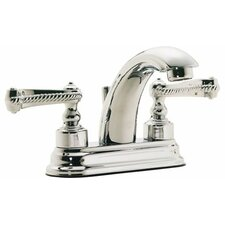 "Santa Monica ""J"" Style Double Handle Centerset Bathroom Sink Faucet"