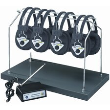 Multi Wireless Listening Center with 4 Headphones and Headphone Rack