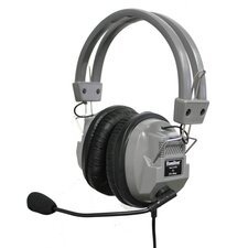 Stereo Headphone with Built-In Boom Microphone in Medium Gray