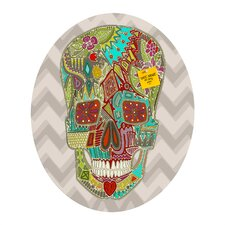 Sharon Turner Flower Skull Oval Magnet Board