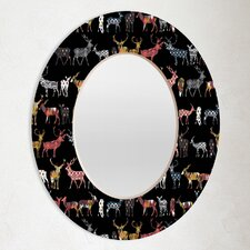 Sharon Turner Charcoal Spice Deer Oval Mirror