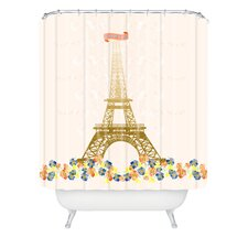 Jennifer Hill Woven Polyester Paris Eiffel Tower Shower Curtain