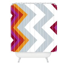 Karen Harris  Woven Polyester Modernity Solstice Warm Chevron Shower Curtain