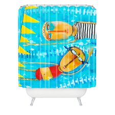 Robin Faye Gates Woven Polyester Swimming is Hard Extra Long Shower Curtain