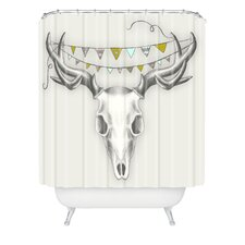 Wesley Bird Polyester Skull Shower Curtain