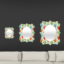 Andi Bird Owl Fun Quatrefoil Mirror