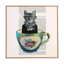 Cat in Cup by Coco de Paris Framed Graphic Art Plaque