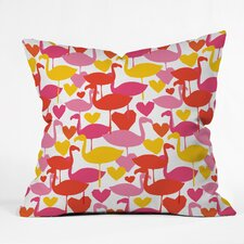 Zoe Wodarz Flamingo Loves Outdoor Throw Pillow