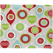 Andrea Victoria Jolly Ornaments Plush Fleece Throw Blanket