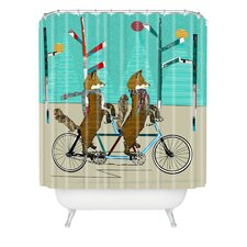 Brian Buckley Foxy Days Lets Tandem Woven Polyester Shower Curtain