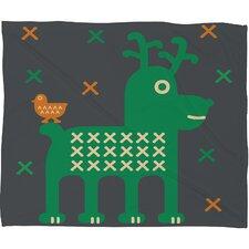 Gabriela Larios Reindeer and Birdy Plush Fleece Throw Blanket
