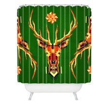 Chobopop Geometric Deer Woven Polyester Shower Curtain
