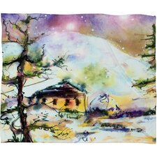 Ginette Fine Art Cabin In The Snow Plush Fleece Throw Blanket