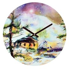 Ginette Fine Art Cabin In The Snow Wall Clock