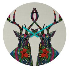Sharon Turner Poinsettia Deer Wall Clock