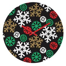 Zoe Wodarz Cozy Cabin Snowflakes Wall Clock