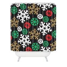 Zoe Wodarz Cozy Cabin Snowflakes Woven Polyester Shower Curtain
