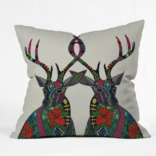 Sharon Turner Poinsettia Deer Throw Pillow