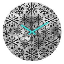 Ruby Door Snow Leopard Snowflake Wall Clock