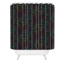 Zoe Wodarz Forest Neon Lights Woven Polyester Shower Curtain