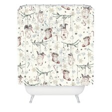 Belle13 Squirrel Heavenly Christmas Woven Polyester Shower Curtain