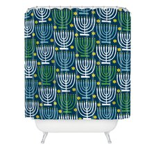 Loni Harris Menorahs Woven Polyester Shower Curtain