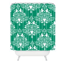 Jacqueline Maldonado Christmas Paper Cutting Green Woven Polyester Shower Curtain