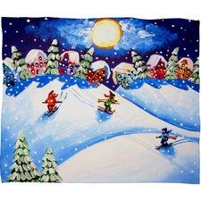 Renie Britenbucher Skiers Plush Fleece Throw Blanket