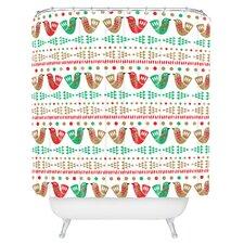 Zoe Wodarz Geo Pop Birds Woven Polyester Shower Curtain