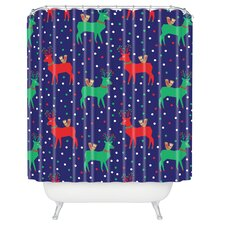 Zoe Wodarz Geo Pop Deer Blue Woven Polyester Shower Curtain