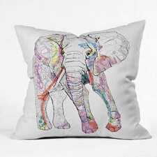 Casey Rogers Elephant 1 Outdoor Throw Pillow