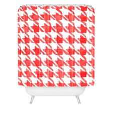Social Proper Candy Houndstooth Woven Polyester Shower Curtain