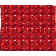 Julia Da Rocha Christmastrees Plush Fleece Throw Blanket