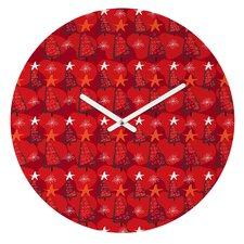 Julia Da Rocha Christmas Trees Wall Clock