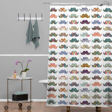 Bianca Woven Polyester Mustache Mania Shower Curtain