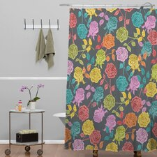 Bianca Woven Polyester Roses Shower Curtain
