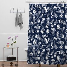 Jennifer Denty Woven Polyester Jellyfish Shower Curtain