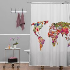 Bianca Green Woven Polyester Its Your World Extra Long Shower Curtain
