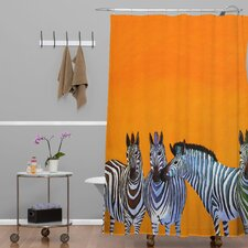 Clara Nilles Woven Polyester Candy Stripe Zebras Extra Long Shower Curtain