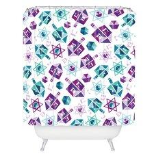 Zoe Wodarz Dreidel Facets Woven Polyester Shower Curtain