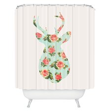 Allyson Johnson Floral Deer Silhouette Woven Polyester Shower Curtain