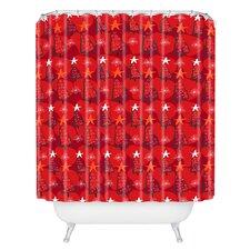 Julia Da Rocha Christmastrees Woven Polyester Shower Curtain