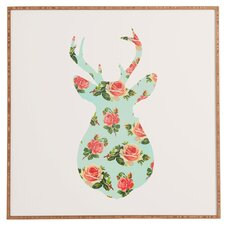Floral Deer Silhouette by Allyson Johnson Framed Graphic Art Plaque