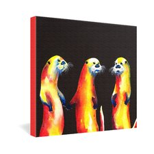 Flaming Otters by Clara Nilles Painting Print on Canvas