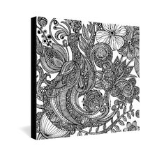 <strong>DENY Designs</strong> Valentina Ramos Bird In Flowers Black White Gallery Wrapped Canvas